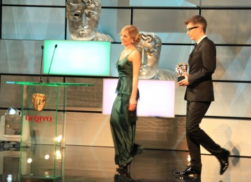 Joanne Froggatt and Gareth Malone  arrive to present the Features award.