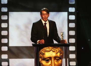 Will Wright with his Albert R. Broccoli Britannia Award for Worldwide Contribution to Entertainment.