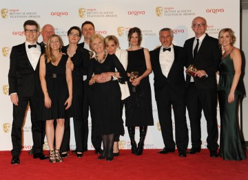 The Features BAFTA was won by The Great British Bake Off. The winning team (including presenters Sue Perkins and Mel Giedroyc and judges Mary Berry and Paul Hollywood) are pictured here with award presenters Gareth Malone and Joanne Froggatt.