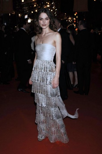Leading Actress nominee Keira Knightley poses on the red carpet in a Valentino couture dress with Roger Vivier shoes. To protect her from the February chill she carried an Alexander Wang Jacket (pic: BAFTA / Richard Kendal).