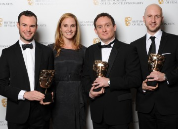 Visual Effects winners from BlueBolt with actress Ruth Bradley. They received the award for their work on Great Expectations.