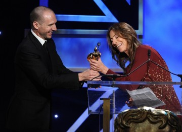 Actor Ralph Fiennes presents Kathryn Bigelow with the Britannia Award for Excellence in Directing