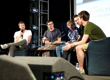 July 18: The Inbetweeners cast on stage with Rick Edwards conducting the interview (Picture: Jonathan Birch)