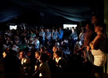 A packed tent after fans piled into the Music and Film Arena to watch Chris Morris' panel interview (Picture: Jonathan Birch)