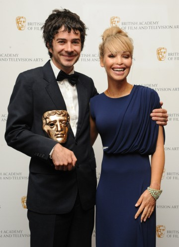 Presenter Katie Piper with Breakthrough Talent winner Jon Brown, writer of Mongrels. (Pic: BAFTA/Chris Sharp)