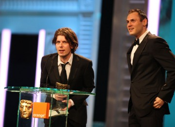 "Paul Wright and Poss Kondeatis won for their short Until The River Runs Red. Wright thanked the cast and crew: ""We were small in numbers, but big in effort and passion."" (Pic: BAFTA/Stephen Butler)"