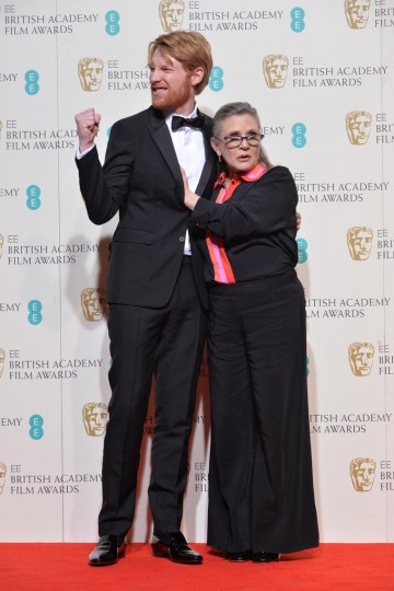 Presenters of the Film not in an English Launguage award: Domhnall Gleeson and Carrie Fisher