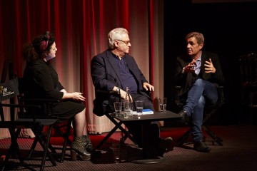 (L-R) Farah Abushwesha, Michael Kuhn and Andy Harries at the BAFTA Rocliffe New Writing Forum