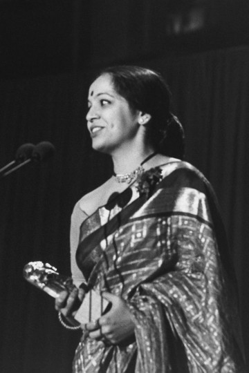 Rohini Hattangadi receives her BAFTA for Best Supporting Actress for her role as Mrs Gandhi at the British Academy Film Awards in 1983.