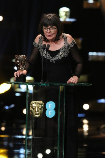 Margaret Sixel celebrates her BAFTA award for Editing for Mad Max: Fury Road