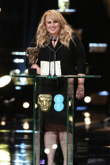 Rebel Wilson presents the award for Supporting Actor at the 2016 EE British Academy Film Awards