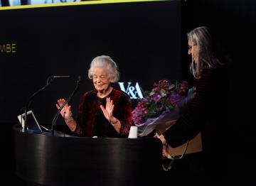 Dalton receives a bouquet from Deborah Landis.