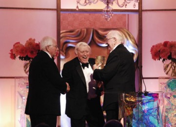 David Croft and Jimmy Perry were delighted to receive their Special Award from Sir Bill Cotton CBE (pic: BAFTA / Richard Kendal).