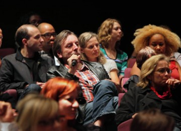 Audience questions at the Lecture with Simon Beaufoy. (Photography: Jay Brooks)