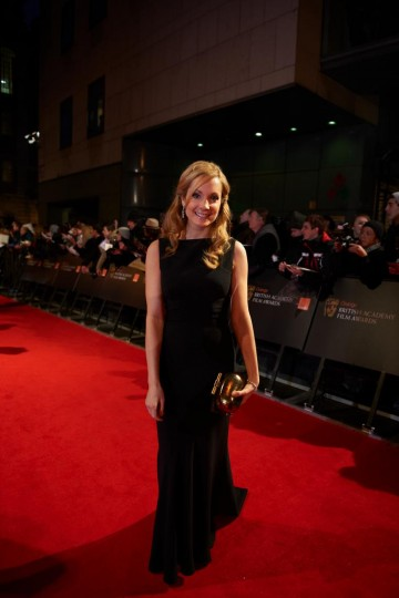 Joanne Froggatt, who plays lady's maid Anna Bates in the series, on the red carpet at the British Academy Film Awards in 2012