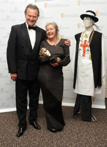 BAFTA-winning costume designer Annie Symons with presenter Hugh Bonneville. (Pic: BAFTA/Chris Sharp)