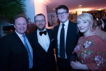 Justin Fletcher and Simon Pegg with YGD winner Dan Pearce and BAFTA Scholar Emily Ellis
