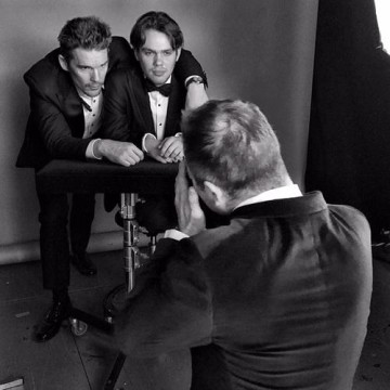 Boyhood's Ethan Hawke and Ellar Coltrane in the boutique photo area at London's Royal Opera House.