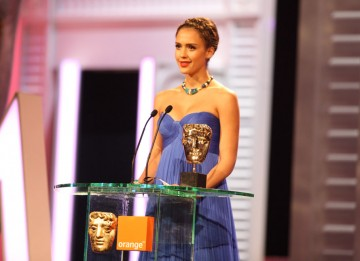 Jessica Alba (The Killer Inside Me) announces Geoffrey Rush as the Supporting Actor winner for The King's Speech. (Pic: BAFTA/ Stephen Butler)