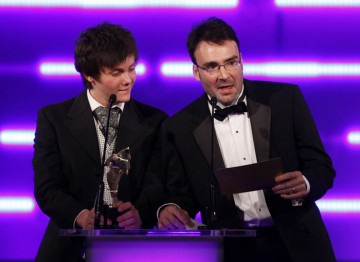 The young Outnumbered star and TT Games Publishing's head of production reveal the winners of our Ones to Watch Award in association with Dare to be Digital. (Pic: BAFTA/Brian Ritchie)