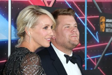 Producer Julia Carey with her husband, honoree James Corden, on the red carpet.