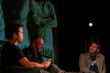 Jason Solomons discussing The Escapist on stage with Adrian Sturges and Liam Cunningham.