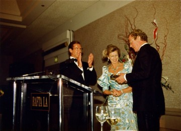Roger Moore, HRH Princess Alexandra, and Michael Caine
