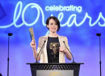 Little Dorrit actress Claire Foy kept the audience guessing as she opened the envelope to announce the Interactive Creative Contribution award (BAFTA / Richard Kendal).
