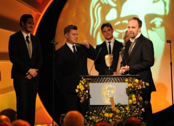 Marc Craste, Damon Collins, Tim McNaughton and Freddy Mandy celebrate their Titles BAFTA for BBC Winter Olympics.