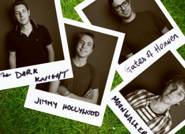 The cast from hit television show, The Inbetweeners posed for a polaroid photoshoot at Latitude Festival and answered the question, 'If you could watch one last film, what would that be?' (Photography: Andy Hollingworth)