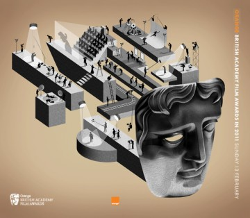 British Academy Film Awards ticket illustration in 2011 by Adam Simpson