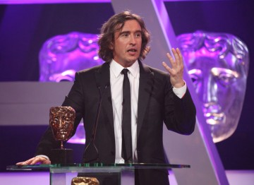 Steve Coogan wins the award for his role in The Trip - which he jests took '40 years to prepare for'.