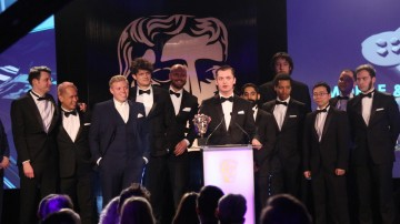 The Monument Valley team accept the award for Mobile & Handheld at the British Academy Games Awards Ceremony in 2015