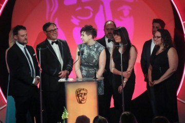 The special effects team for Doctor Who accept the award for Special, Visual & Graphic Effects at the British Academy Television Craft Awards in 2015
