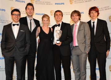 Winners of the YouTube Audience Award, the cast of The Inbetweeners; presented by Joanna Page and Charlie McDonnell (BAFTA/Richard Kendal).
