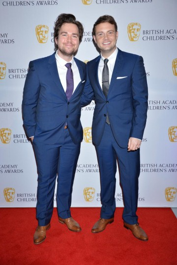 The nominated presenters of Sam & Mark's Big Friday Wind-Up walk the red carpet of the British Academy Children's Awards in 2014