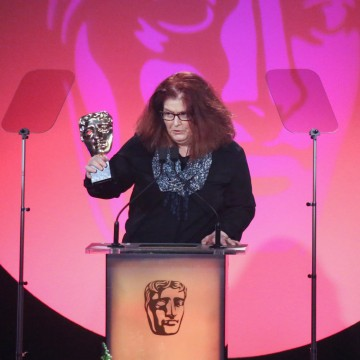 Sally Wainwright accepts the award for Writer: Drama at the British Academy Television Craft Awards in 2015