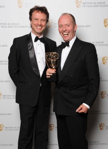 Winner of the Director: Fiction BAFTA Hugo Blick with actor Jonathan Firth.