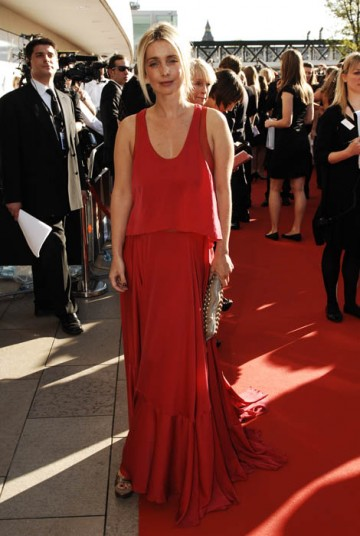 Louise Redknapp was the picture of sophistication in a long Sonia Rykiel dress, Gucci shoes and gold Dtella bag (BAFTA / Richard Kendal).