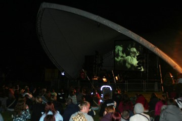 Hundreds of festival goers watched the screening of E A Dupont's 1928 classic silent film on the Lake Stage.