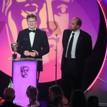 Matt Skilton and Mike Hatch accept the award for Sound: Factual at the British Academy Television Craft Awards in 2015 (Kuz Randhawa not present)