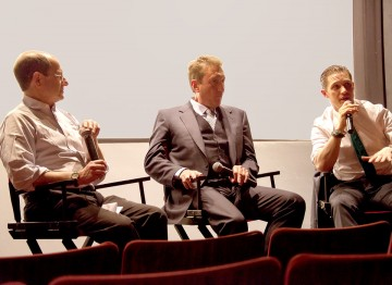Moderator Brian Rose, director Steven Knight and Tom Hardy.