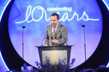 Eddie Marsan, star of Mike Leigh's Happy-Go-Lucky and Dickens adaptation Little Dorrit, was in relaxed mood as he presented the BAFTA for Titles (BAFTA / Richard Kendal).
