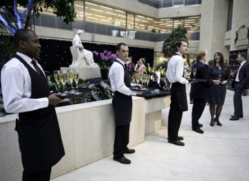 Waiters line up awaiting the arrival of guests at the Television and Television Craft Awards nominees party. (Pic: BAFTA/Alexandra Thompson)