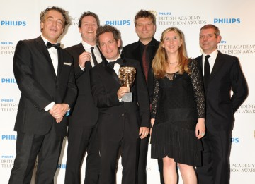 The BAFTA for Situation Comedy was presented to Kenton Allen, James Wood, Peter Cattaneo and Hannah Pescod and Tom Hollander by Bradley Walsh. (Pic: BAFTA/Richard Kendal)