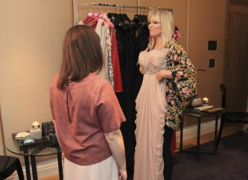 A gorgeous floor length gown from the House of Fraser collection catches Kate Thornton's eye.