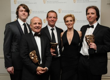The winning team behind the Arctic episode of Human Planet, with presenters Vicky McClure and Daniel Rigby. (Pic: BAFTA/Chris Sharp)