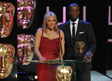 Adrian Lester, star of The Hustle, and actress Patsy Kensit-Healey presented the Continuing Drama category (BAFTA / Marc Hoberman).