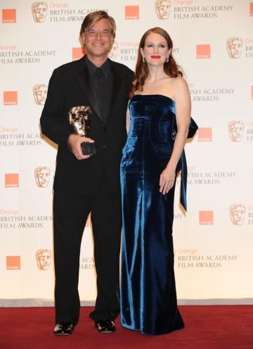 Writer Aaron Sorkin with citation reader Julianne Moore. (Pic: BAFTA/ Richard Kendal)