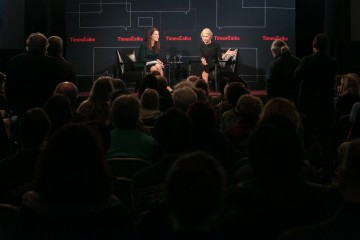 Moderator Cara Buckley and Helen Mirren.